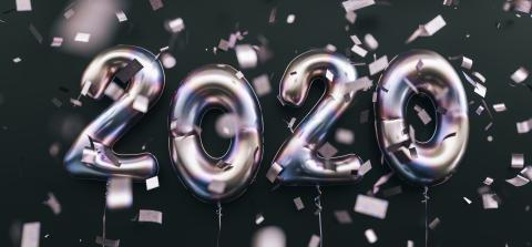 New year 2020 celebration. Silver foil balloons numeral 2020 and confetti on black background- Stock Photo or Stock Video of rcfotostock | RC-Photo-Stock