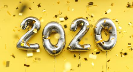 New year 2020 celebration. silver metallic foil balloons numeral 2020 and confetti on yellow background : Stock Photo or Stock Video Download rcfotostock photos, images and assets rcfotostock   RC-Photo-Stock.: