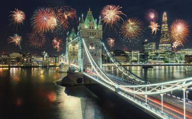 New Year fireworks in London at the Tower bridge with firework, UK : Stock Photo or Stock Video Download rcfotostock photos, images and assets rcfotostock | RC-Photo-Stock.: