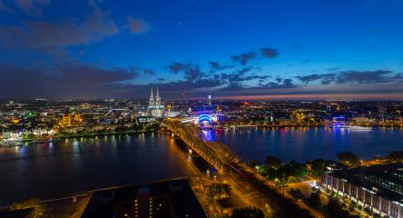 Night aerial view of cologne city- Stock Photo or Stock Video of rcfotostock   RC-Photo-Stock