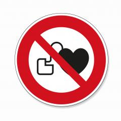 No access for persons with pacemakers. No access with cardiac pacemaker in this area, prohibition sign on white background. Vector illustration. Eps 10 vector file.- Stock Photo or Stock Video of rcfotostock | RC-Photo-Stock