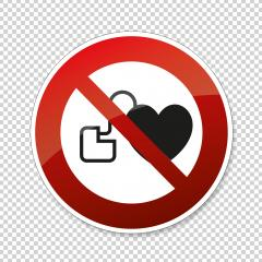 No access for persons with pacemakers. No access with cardiac pacemaker in this area, prohibition sign on checked transparent background. Vector illustration. Eps 10 vector file.- Stock Photo or Stock Video of rcfotostock | RC-Photo-Stock