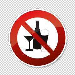 No alcohol. No alcohol drinks in this area, prohibition sign on checked transparent background. Vector illustration. Eps 10 vector file.- Stock Photo or Stock Video of rcfotostock | RC-Photo-Stock