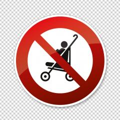 No Buggy strollers. Not allow stroller, carriage in this area, Do not use prams, prohibition sign on checked transparent background. Vector illustration. Eps 10 vector file. : Stock Photo or Stock Video Download rcfotostock photos, images and assets rcfotostock | RC-Photo-Stock.: