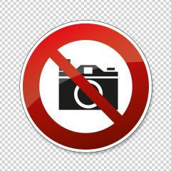 No cameras allowed. No taking pictures, no photographs, prohibition sign, on checked transparent background. Vector illustration. Eps 10 vector file.- Stock Photo or Stock Video of rcfotostock | RC-Photo-Stock