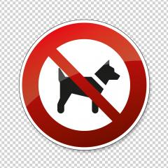 No dogs allowed. Dogs or pets not allowed in this area, prohibition sign on checked transparent background. Vector illustration. Eps 10 vector file.- Stock Photo or Stock Video of rcfotostock | RC-Photo-Stock