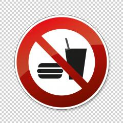 No food allowed. No eating and drinking in this area, prohibition sign, on checked transparent background. Vector illustration. Eps 10 vector file. : Stock Photo or Stock Video Download rcfotostock photos, images and assets rcfotostock | RC-Photo-Stock.: