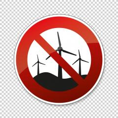 No Wind turbines. Wind generator or wind park ban or not allowed, prohibition sign, on checked transparent background. Vector illustration. Eps 10 vector file.- Stock Photo or Stock Video of rcfotostock | RC-Photo-Stock