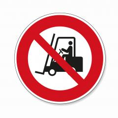 Not allowed forklift. Riding on forklift trucks is forbidden in this area, prohibition sign on white background. Vector illustration. Eps 10 vector file.- Stock Photo or Stock Video of rcfotostock | RC-Photo-Stock