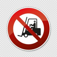 Not allowed forklift. Riding on forklift trucks is forbidden in this area, prohibition sign on checked transparent background. Vector illustration. Eps 10 vector file.- Stock Photo or Stock Video of rcfotostock | RC-Photo-Stock