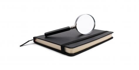 notebook with magnifying glass on white background : Stock Photo or Stock Video Download rcfotostock photos, images and assets rcfotostock | RC-Photo-Stock.: