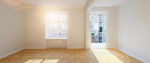 Oak parquet in old empty Berlin stucco room with balcony at summer- Stock Photo or Stock Video of rcfotostock | RC-Photo-Stock