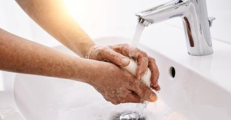 Old  Woman washing his Hands to prevent virus infection and clean dirty hands - corona covid-19 concept image- Stock Photo or Stock Video of rcfotostock | RC-Photo-Stock