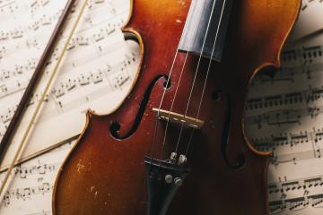 old antique Violin with bow on paper notes- Stock Photo or Stock Video of rcfotostock | RC-Photo-Stock