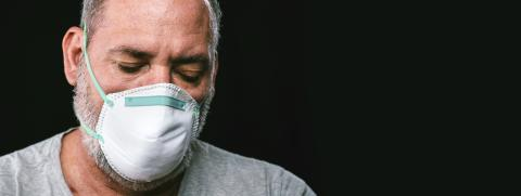 Old man wearing an anti virus protection mask to prevent others from corona COVID-19 and SARS cov 2 infection- Stock Photo or Stock Video of rcfotostock | RC-Photo-Stock