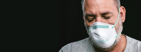 Old man wearing an anti virus protection mask to prevent others from corona COVID-19 and SARS cov 2 infection : Stock Photo or Stock Video Download rcfotostock photos, images and assets rcfotostock | RC-Photo-Stock.: