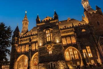 old town hall of Aachen, Germany with night blue sky- Stock Photo or Stock Video of rcfotostock | RC-Photo-Stock