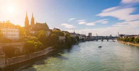 Old town of Basel with red stone Munster cathedral on the Rhine river, Switzerland- Stock Photo or Stock Video of rcfotostock | RC-Photo-Stock