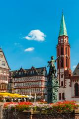 old town of frankfurt romerberg with Justitia statue, Germany- Stock Photo or Stock Video of rcfotostock | RC-Photo-Stock
