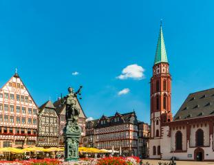 old town square romerberg with Justitia statue in Frankfurt, Germany- Stock Photo or Stock Video of rcfotostock | RC-Photo-Stock