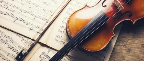 old violin and notes, banner size- Stock Photo or Stock Video of rcfotostock | RC-Photo-Stock
