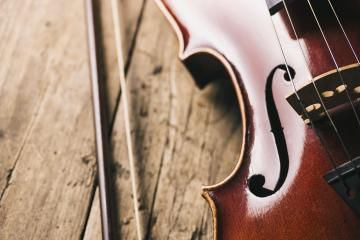 old Violin with bow on a wooden floor- Stock Photo or Stock Video of rcfotostock | RC-Photo-Stock