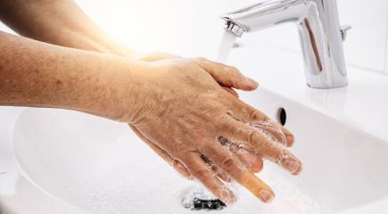 Old Woman Washing hands with soap and hot water at home bathroom sink woman cleansing hand hygiene for coronavirus outbreak prevention. Corona Virus pandemic protection by washing hands frequently. : Stock Photo or Stock Video Download rcfotostock photos, images and assets rcfotostock | RC-Photo-Stock.:
