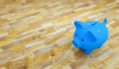 olf wooden floor with a blue piggy bank  - copyspace for your individual text. : Stock Photo or Stock Video Download rcfotostock photos, images and assets rcfotostock | RC-Photo-Stock.:
