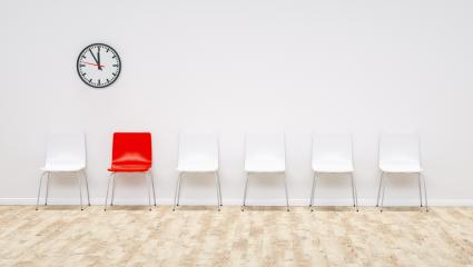 one red chair between white chairs in the waiting room - 3D Rendering- Stock Photo or Stock Video of rcfotostock | RC-Photo-Stock