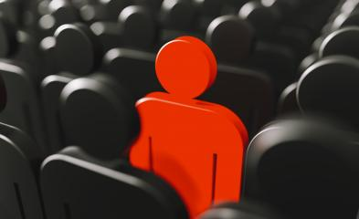 One red human figure in the crowd of white human figures. 3d illustration, 3d rendering.- Stock Photo or Stock Video of rcfotostock | RC-Photo-Stock