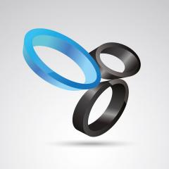oval ring 3d vector icon as logo formation in black and blue glossy colors, Corporate design. Vector illustration. Eps 10 vector file.- Stock Photo or Stock Video of rcfotostock | RC-Photo-Stock