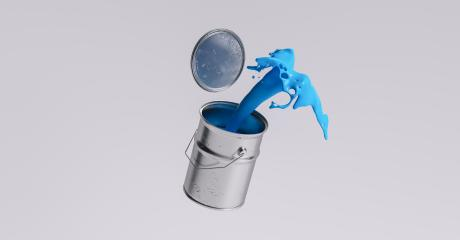 paint can splashing blue bright color, renovation concept image- Stock Photo or Stock Video of rcfotostock | RC-Photo-Stock