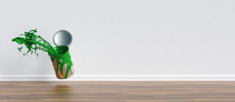 paint can splashing green color in a apartment with wall and copy space for individual text, renovation concept image- Stock Photo or Stock Video of rcfotostock | RC-Photo-Stock