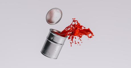 paint can splashing red bright color, renovation concept image- Stock Photo or Stock Video of rcfotostock | RC-Photo-Stock