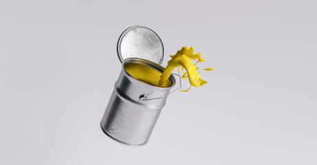 paint can splashing yellow bright color, renovation concept image- Stock Photo or Stock Video of rcfotostock | RC-Photo-Stock