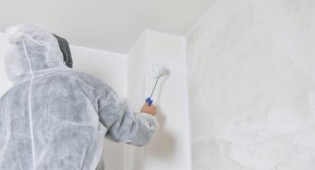 painter stands with paint roller on a ladder to paint the corner of a room window with white color. do it yourself concept image- Stock Photo or Stock Video of rcfotostock | RC-Photo-Stock