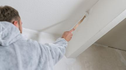 painter working with paint brush to paint the corner of a room with white color. do it yourself concept image- Stock Photo or Stock Video of rcfotostock | RC-Photo-Stock