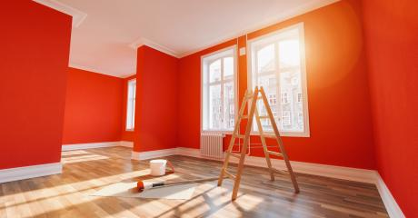 Painting wall red in room after restoration or refurbishment- Stock Photo or Stock Video of rcfotostock | RC-Photo-Stock
