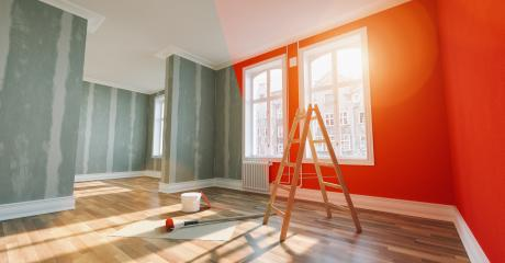 Painting wall red in room before and after restoration or refurbishment- Stock Photo or Stock Video of rcfotostock | RC-Photo-Stock