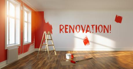 Painting wall red in room of a apartment after relocation, renovation written on wall with fresh paint, with ladder and paint bucket   : Stock Photo or Stock Video Download rcfotostock photos, images and assets rcfotostock | RC-Photo-Stock.: