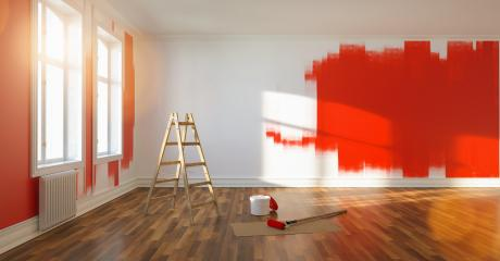 Painting wall red in room of apartment after relocation with ladder and paint bucket  : Stock Photo or Stock Video Download rcfotostock photos, images and assets rcfotostock | RC-Photo-Stock.: