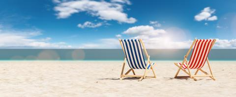 Pair of beach chairs on sand beach in summer in sunlight. copyspace for your individual text.- Stock Photo or Stock Video of rcfotostock | RC-Photo-Stock