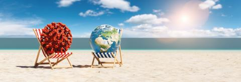 Pair of beach chairs with Coronavirus and earth globe on sand beach in summer in sunlight - Stock Photo or Stock Video of rcfotostock | RC-Photo-Stock