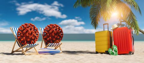 Pair of beach chairs with Coronavirus coronavirus covid-19 epidemic on sand beach with Suitcase, Palm tree, flip-flops, parasol at summer in sunlight - Stock Photo or Stock Video of rcfotostock | RC-Photo-Stock