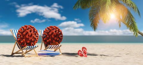 Pair of beach chairs with Coronavirus coronavirus covid-19 epidemic on sand beach with Palm tree, flip-flops, parasol at summer in sunlight - Stock Photo or Stock Video of rcfotostock | RC-Photo-Stock