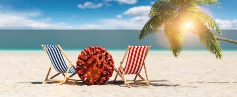 Pair of beach chairs with Coronavirus coronavirus covid-19 epidemic on sand beach with palm tree in summer in sunlight - Stock Photo or Stock Video of rcfotostock | RC-Photo-Stock