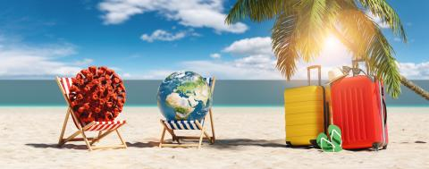 Pair of beach chairs with Coronavirus coronavirus covid-19 epidemic on sand beach with Suitcases, Palm tree, flip-flops, at summer in sunlight  : Stock Photo or Stock Video Download rcfotostock photos, images and assets rcfotostock | RC-Photo-Stock.: