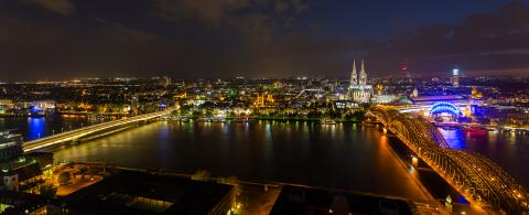 Panorama of Cologne at night on the rhine river- Stock Photo or Stock Video of rcfotostock | RC-Photo-Stock