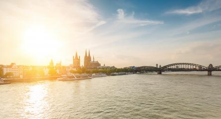 panorama of Cologne city and Rhine river sunset- Stock Photo or Stock Video of rcfotostock | RC-Photo-Stock