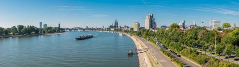 panorama of Cologne with cathedral, boats, river Rhine and bridge in a sunny day- Stock Photo or Stock Video of rcfotostock | RC-Photo-Stock